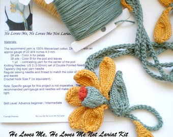 Knit Daisy Lariat Necklace DIY Kit - He Love Me, He Loves Me Not