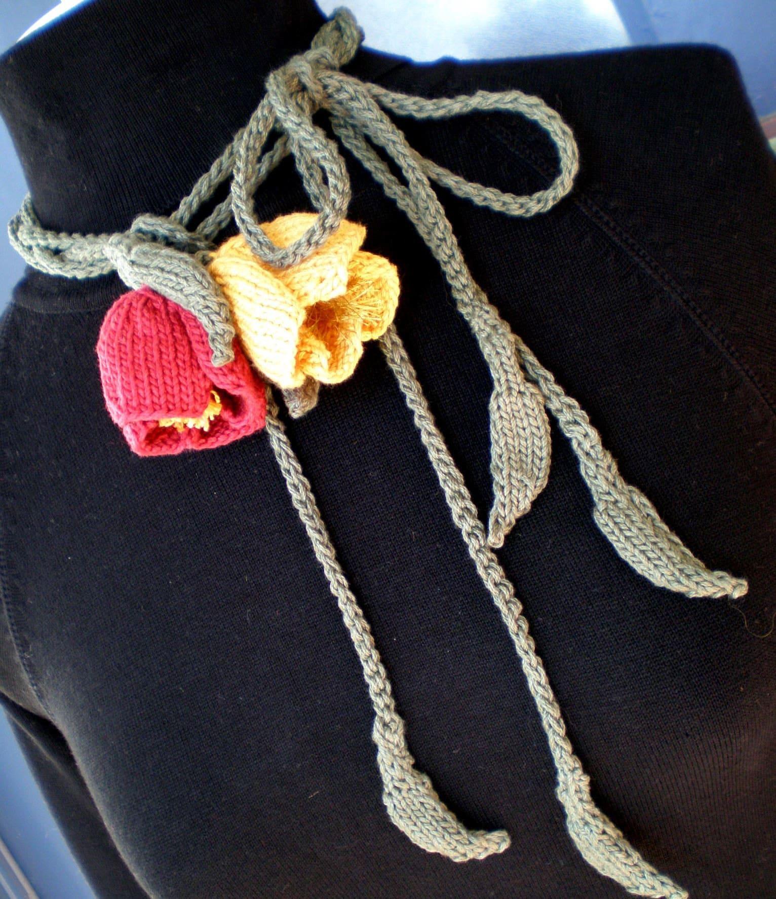 PDF Knit Jewelry Flower Pattern Poppy Love Lariat