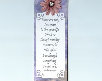 Albert Einstein Magnet: Life Quote Miracles Magnet, 3D, Flower Magnet, Inspirational, Meaning of Life Magnet, Encouragement, Ready To Ship