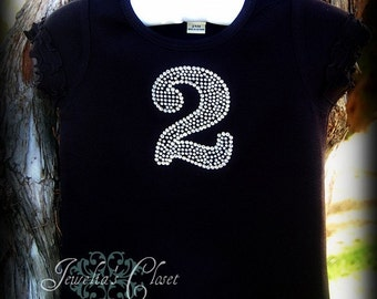 Bling Number Birthday Shirt- Boutique Quality Rhinestone Number on a ruffle Shirt