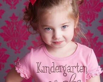 Kindergarten Rocks Rhinestone Bling Shirt- Pink and Brown Rhinestones