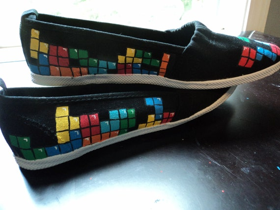 Woman's Tetris Shoes, tetris, video game, shoes, custom shoes, video game clothes, hand painted, nerdy shoes, geeky shoes, geeky clothes
