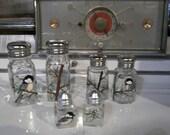 Medium Size Painted Glass Chickadee Salt and Pepper Shakers Hand-painted Glass Bird Salt & Pepper Shakers by Lisa Hayward