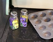 Glass Salt & Pepper Hand Painted Pansy Salt and Pepper Shakers Over 35 Designs Available Check Our Shop