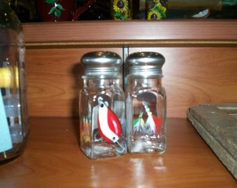 Fishing Lure Large Glass Salt and Pepper Shakers Hand Painted Glass  by Lisa Hayward