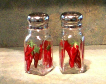 Red Hot Peppers Hand-painted Clear Painted Glass Salt and Pepper Shakers by Lisa Hayward Vegetable Salt & Pepper