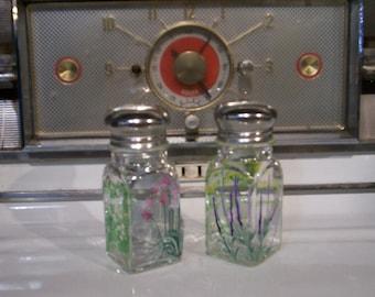 Garden Herbs Glass Salt & Pepper Hand Painted Herb Salt and Pepper Shakers by Lisa Hayward