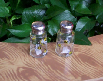 Hand Painted Glass Bumble Bee Salt and Pepper Shakers Bee Salt & Pepper Shakers by Lisa Hayward