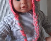 Custom Orders Welcome...Gray and Coral....Cream and Coral... Earflap Hat....3 Sizes Available.... Baby... GIRL ....PHOTO PROP