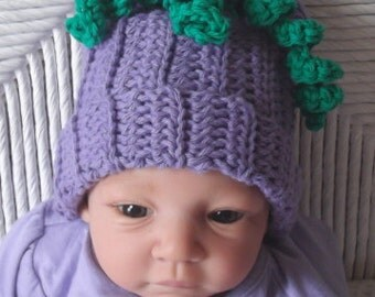 Purple... Grape Hat..... Green Curly Vine....0 to 3 month...On Sale and READY To SHIP... Photo Prop