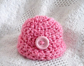 Newborn up to 3 Month size... Girl.....Pretty in PINK.... Rolled up Cuff .....Beanie /  Ready to Ship  PHOTO PROP