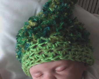 Green & Aqua...Christmas or St Paddy Day... FUZZY... Top Knot Hat...0 to 6 Month....PHOTOS.... Ready to Ship