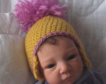 Mustard & Orchid... Earflap.. Pom on Top.. Hat....Newborn up to 8 Weeks Size only...  Ready to Ship...Marked Down