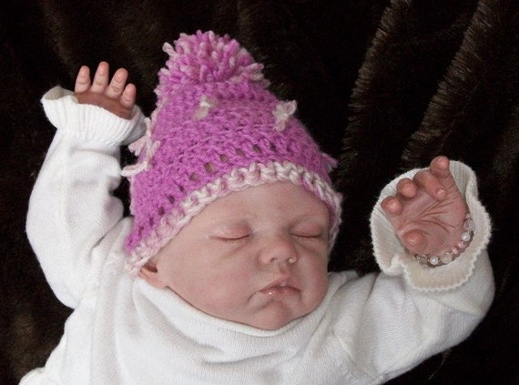 On SALE.....Violet.... Newborn.... Pom Pom Hat.... READY to SHIP