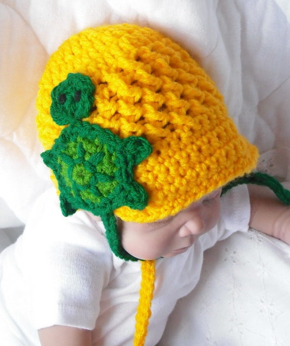PHOTO Prop....Turtle Cap....  Bright Yellow.... Newborn Size.....Custom Color Requests Welcomed....Baby Boy or Girl