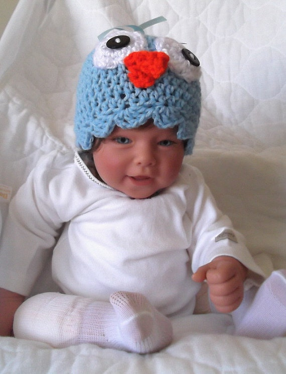 Adorable..... Blue Bird....Bird Hat.....Boy or Girl....Newborn up to 6 Month Infants.... PHOTO PROP.... READY to Ship