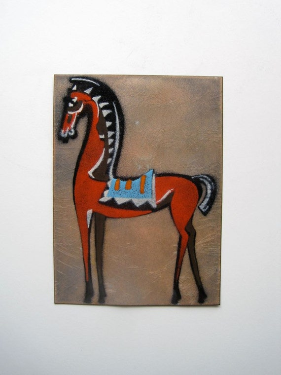 Trojan Orange Horse Enamel Art Plaque