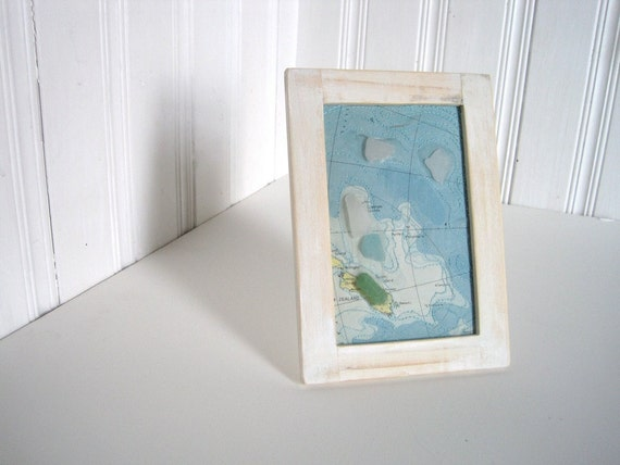 Mixed Media Art  - New Zealand - Altered Map Art with Sea Glass - 5 x 7 inches