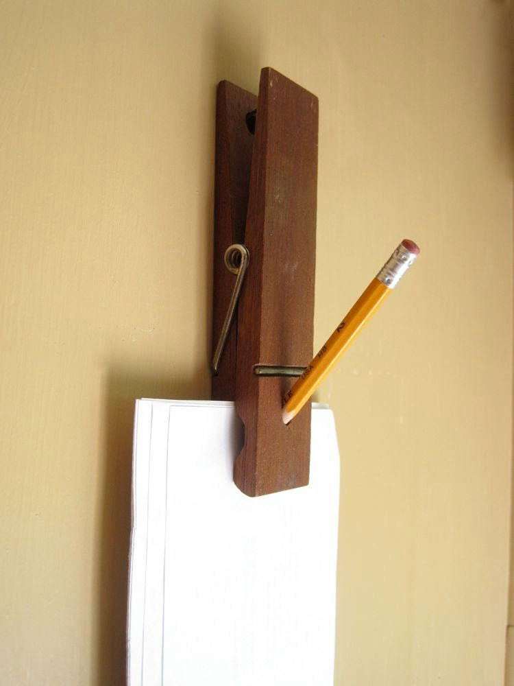 giant clothespin clip note paper holder desk organizer. Black Bedroom Furniture Sets. Home Design Ideas