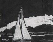 Sailboat - Original Linocut Print