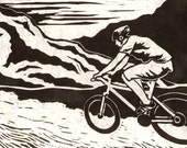 Mountain Biker - Original Linocut Print