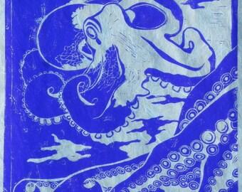 Octopus (Blue or Purple) - Original Linocut Print
