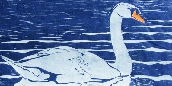 Swan - Original Linocut Print