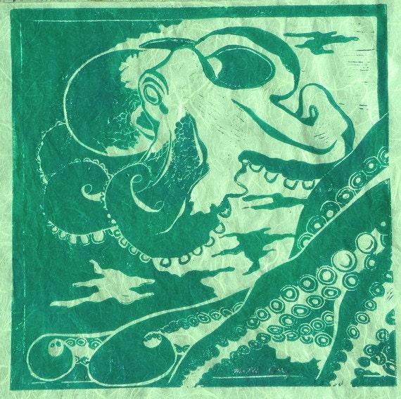 Octopus in Green  - Original Linocut Print