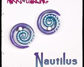 CUSTOM Handmade Pearled Nautilus gauged earrings