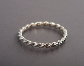 Rope Twist Ring in Sterling Silver