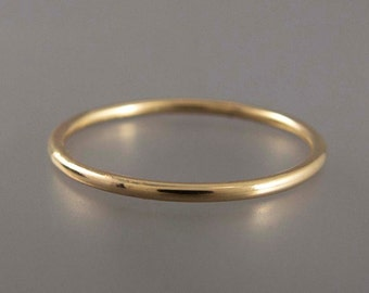 14k Yellow Gold Skinny Stacking Ring - 1.3mm wide wedding band - Choice of textures