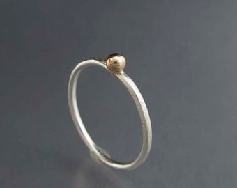 Silver and 14k Gold Ball Skinny Stacking Ring - Your choice of textures