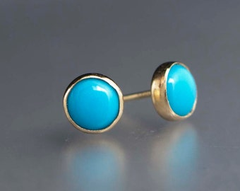 Turquoise Gold Stud Earrings - 6mm solid 14k gold bezel settings, posts and backs - ready to ship