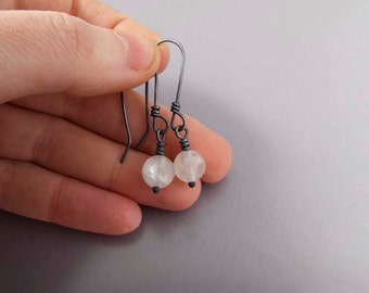 Moonstone Bead Earrings in Black Oxidized Sterling Silver - Ready to Ship