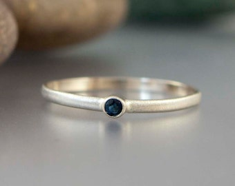 Blue Sapphire and White Gold Ring - Thin Engagement Ring in solid 14k white gold