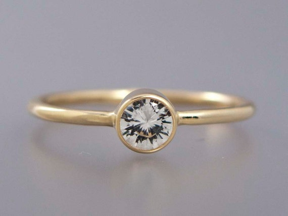 White Sapphire in 14k Yellow Gold Engagement Ring - 1.3mm Round 14k gold band - White Sapphire, Moissanite or Diamond