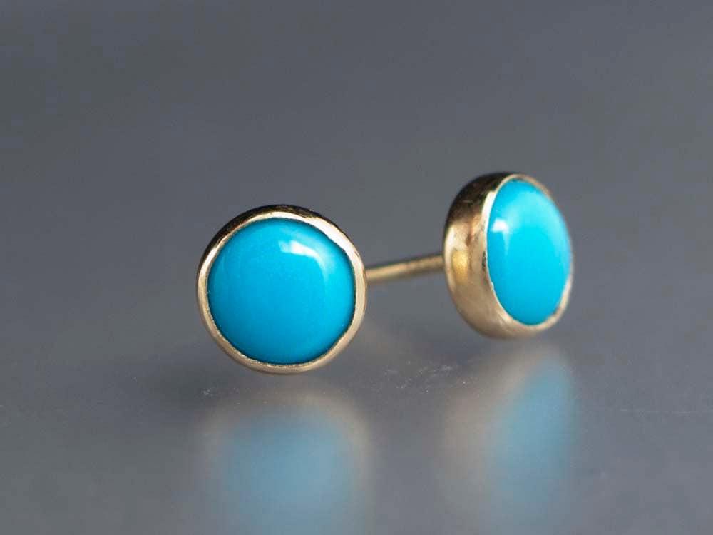 turquoise gold stud earrings 6mm solid 14k gold bezel. Black Bedroom Furniture Sets. Home Design Ideas