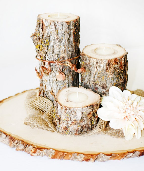 Rustic wooden log votive tea light candles set of natural