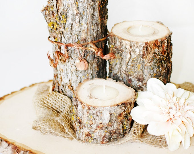 Rustic Wooden Candle Set - 3 candles at varied heights with tree slice base - woodland, rustic centerpiece