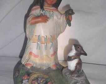 I-113 Navajo Girl hand painted ceramics