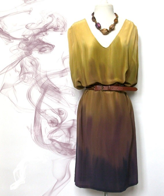Dress silk handdyed ombre yellow olive green purple  grecian style  caftan MADE TO ORDER