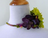 Chartreuse Lime Purple Wine Headband Flowers - dyed silk, wedding, prom, special occasion
