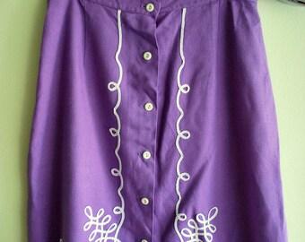 Vintage Lilac Purple Folk Ribbon Spring Skirt M Medium L Large