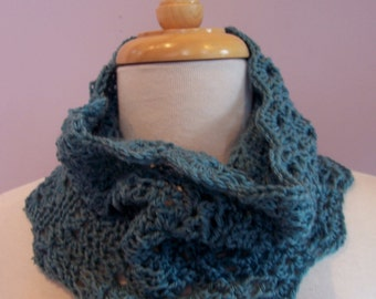 Neck Cowl - Feminine scalloped crochet infinity scarf , Made to Order