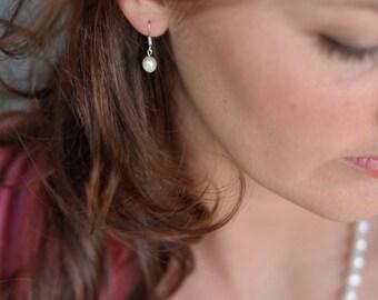 Cream/Ivory Bridal Fresh Water Pearl  Earrings