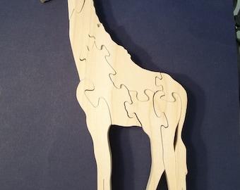 Wooden Giraffe Puzzle Poplar Hardwood
