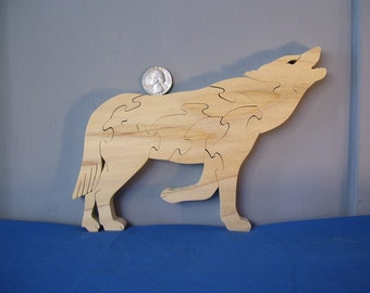 Howling Wolf Puzzle American Poplar Hardwood