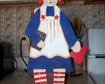 Hand-Painted Wooden Raggedy Ann Paper Towel Holder