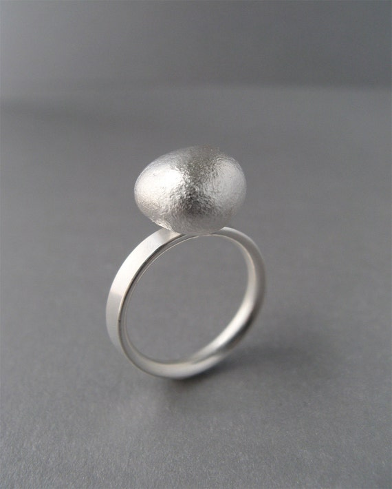 Reserved for Courtney - Silver Pebble Ring - Organic Minimal Silver Solitaire Ring Size 6.5