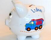 Personalized Piggy Bank Trucks Construction Hammer Tools